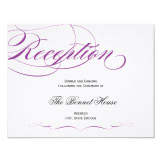 Elegant Script Reception Card - Purple 11 Cm X 14 Cm Invitation Card