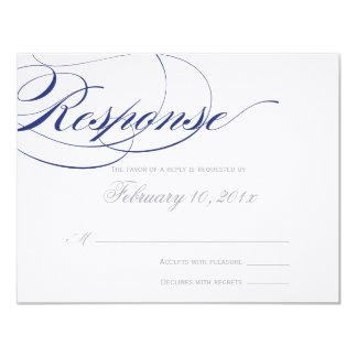 Elegant Script Response Card - Navy 11 Cm X 14 Cm Invitation Card