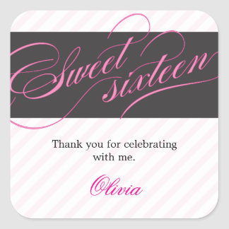 Elegant Script Sweet Sixteen Party Favor Sticker