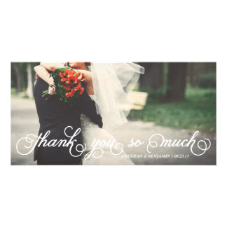 Elegant Script Thank You So Much Wedding Thank You Customised Photo Card