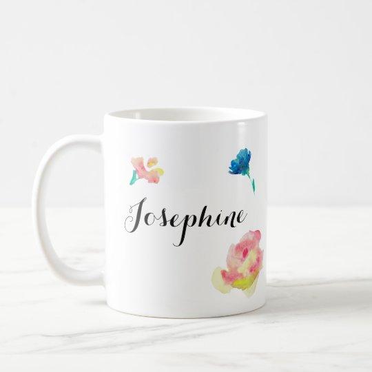 Elegant Script type, boho waterpaint flowers Coffee Mug