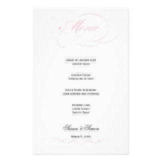Elegant Script  Wedding Menu - Blush