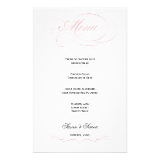 Elegant Script  Wedding Menu - Blush Personalised Stationery