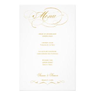 Elegant Script  Wedding Menu - Gold