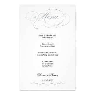 Elegant Script  Wedding Menu - Gray