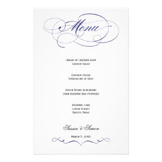 Elegant Script  Wedding Menu - Navy Blue Personalized Stationery