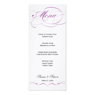 Elegant Script  Wedding Menu - Purple 10 Cm X 24 Cm Invitation Card