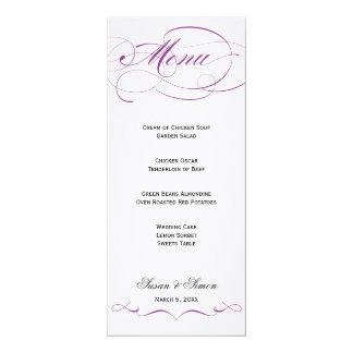 Elegant Script  Wedding Menu - Purple Card