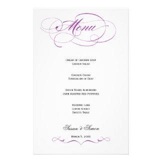 Elegant Script  Wedding Menu - Purple Stationery Paper
