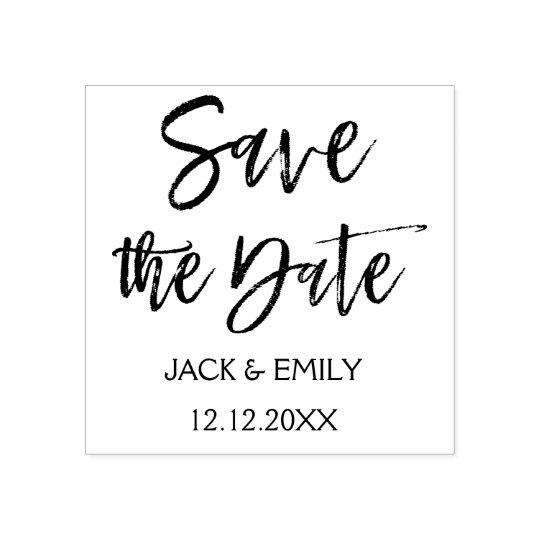 Elegant Script Wedding Save the Date Rubber Stamp