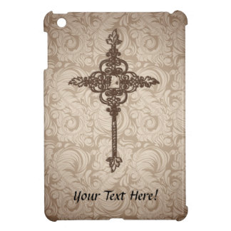 Elegant Scroll Christian Cross w/Swirl Background iPad Mini Case