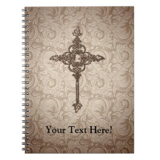 Elegant Scroll Christian Cross w/Swirl Background Notebook
