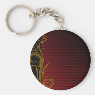 Elegant Scroll Design Basic Round Button Key Ring