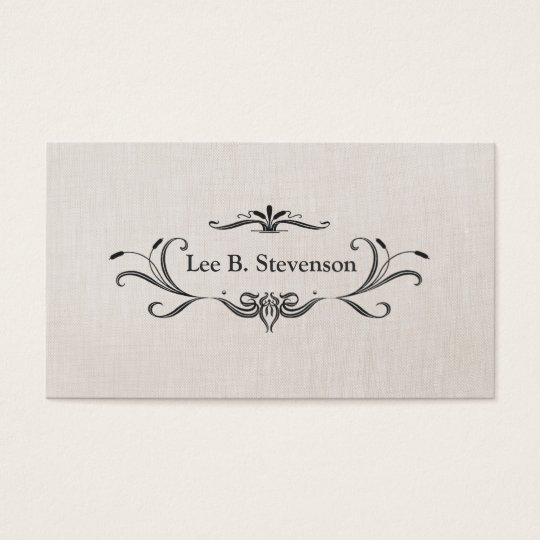 Elegant Scroll Frame Faux Linen Business Card