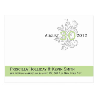Elegant Scrolls Celery Green Gray Save The Date Postcard