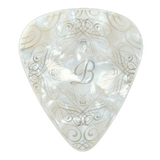 Elegant Scrollwork Script Glamour Initial Monogram Pearl Celluloid Guitar Pick
