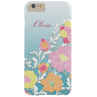 Elegant Sculpted Pastel Floral Personalized Barely There iPhone 6 Plus Case