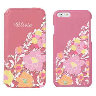 Elegant Sculpted Pastel Floral Personalized Incipio Watson™ iPhone 6 Wallet Case