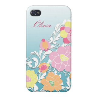 Elegant Sculpted Pastel Floral Personalized iPhone 4 Case