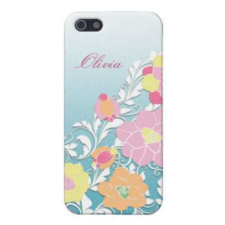 Elegant Sculpted Pastel Floral Personalized iPhone 5 Covers