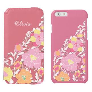 Elegant Sculpted Pastel Floral Personalized Incipio Watson™ iPhone 6 Wallet Case