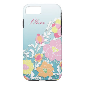 Elegant Sculpted Pastel Floral Personalized iPhone 7 Case