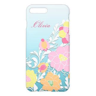 Elegant Sculpted Pastel Floral Personalized iPhone 7 Plus Case