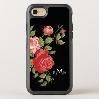 Elegant Sculpted Pink Roses and Monogram OtterBox Symmetry iPhone 7 Case