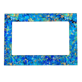 Elegant sea blue beautiful pattern magnetic picture frame