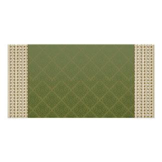 Elegant sea green damask picture card