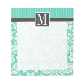 Elegant Seafoam Green Damask Notepad