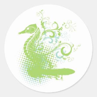 elegant seahorse classic round sticker