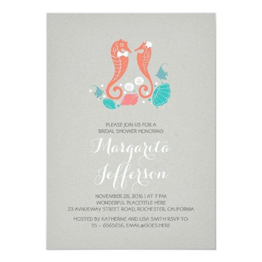 Elegant seahorses beach bridal shower invitation