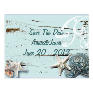 Elegant Seashells Beach Wedding save the date Postcard