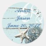 Elegant Seashells Beach Wedding Stationery Sticker