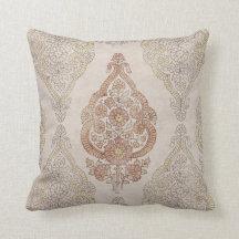 Elegant Shabby Chic Paisley Throw Pillow