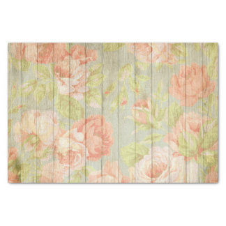 Elegant Shabby Chic Pink Pastel Flowers On Wood Tissue Paper