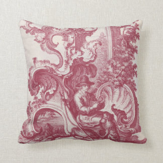 Elegant Shabby French Red Antique Engraving Toile Cushion