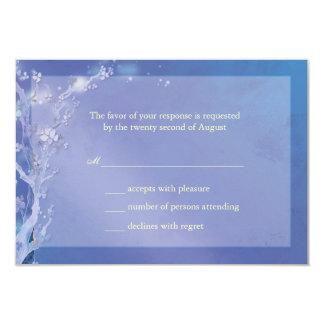 Elegant Shades of Blue Boho Wedding RSVP Card