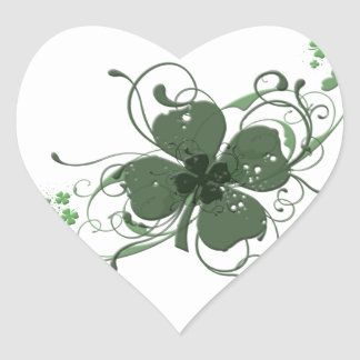 Elegant Shamrock Design Heart Sticker