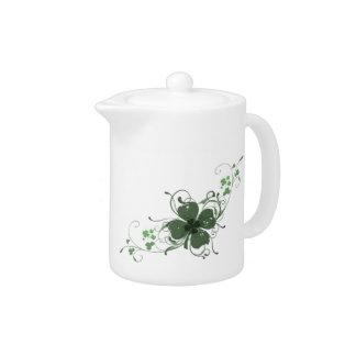 Elegant Shamrock Design Teapot