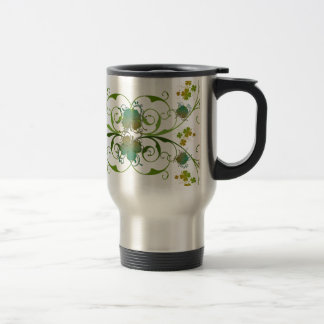 Elegant Shamrocks Art Design Travel Mug