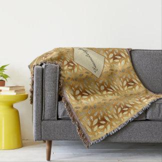Elegant Shiny Gold Leaves Monogram Throw Blanket