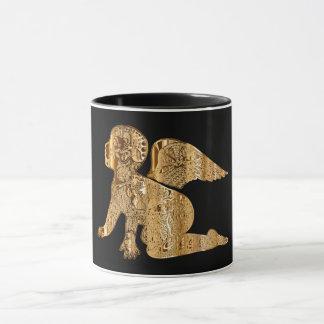 Elegant Shiny Golden Angel Black and Gold Mug