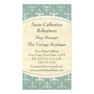 Elegant Shop Manager's Vintage Botanical Damask Business Cards