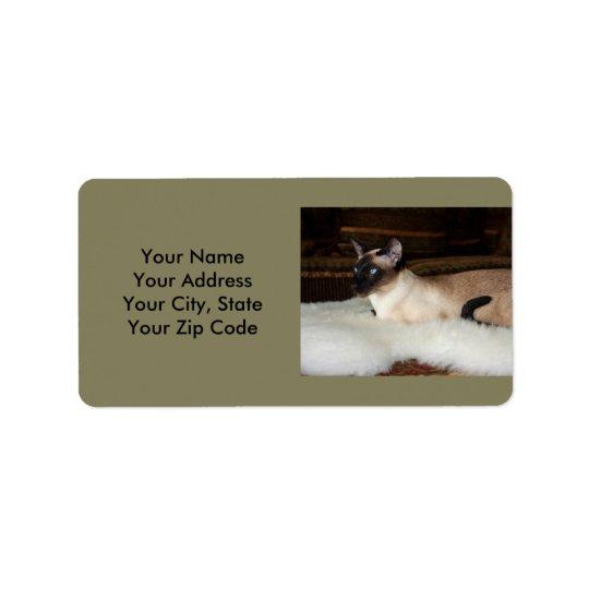 Elegant Siamese Cat Address Label
