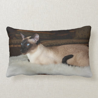 Elegant Siamese Cat Lumbar Cushion