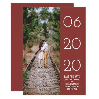 Elegant Side Swept Photo Save the Date | Burgundy Card