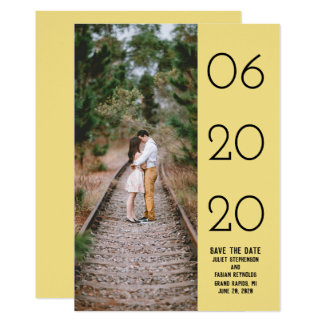 Elegant Side Swept Photo Save the Date | Yellow Card