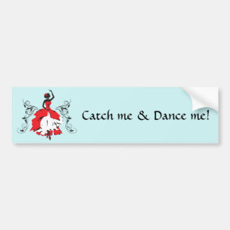 Elegant silhouette woman in dance Floral ornament Bumper Sticker